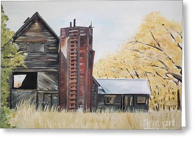 Barn Door Greeting Cards - Golden Aged Barn -Washington - Red Silo  Greeting Card by Jan Dappen