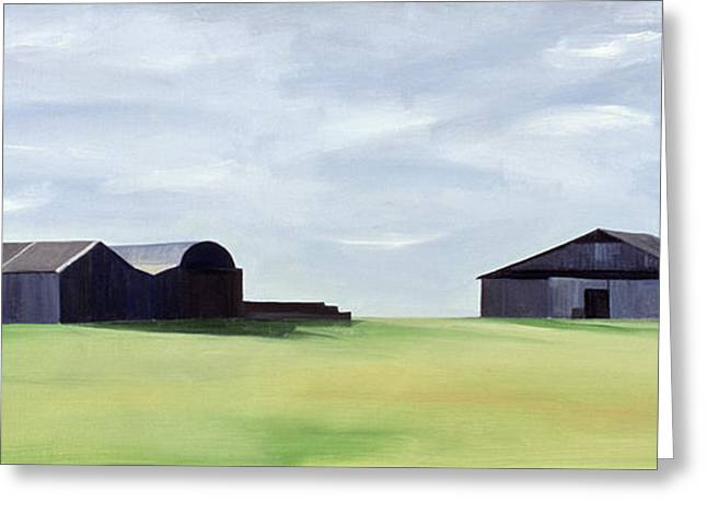 Agriculture Paintings Greeting Cards - Summer Barns Greeting Card by Ana Bianchi