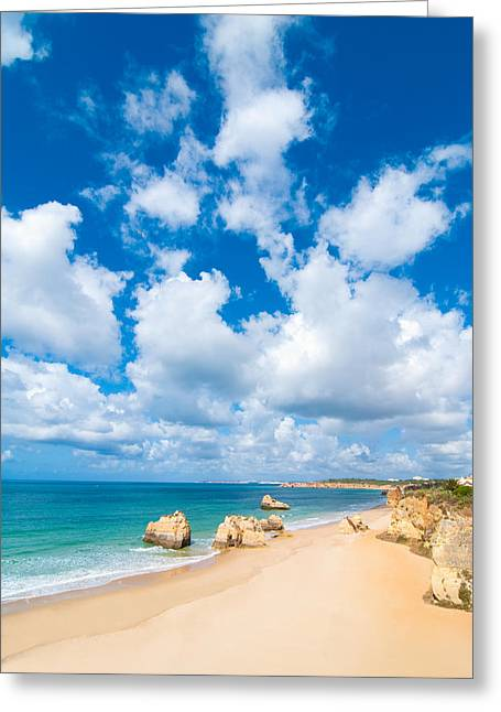 Sea Shore Greeting Cards - Summer Beach Algarve Portugal Greeting Card by Amanda And Christopher Elwell