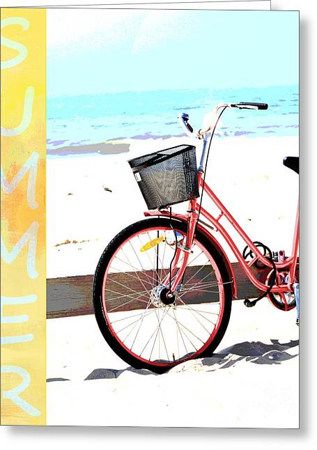 Posters On Mixed Media Greeting Cards - Summer Beach Bike Art Greeting Card by AdSpice Studios