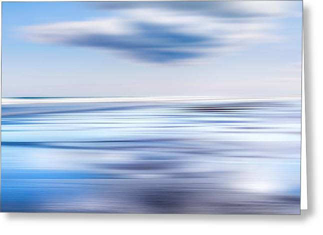 Abstract Beach Landscape Greeting Cards - Summer Beach Blues Greeting Card by Bill  Wakeley