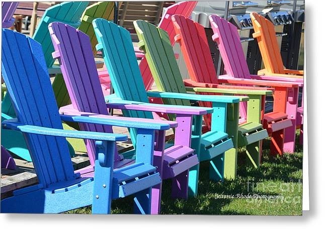 Photos With Red Greeting Cards - Summer Beach Chairs Greeting Card by Jeannie Rhode Photography