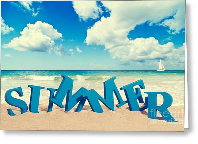 Words Background Greeting Cards - Summer Beach Greeting Card by Amanda And Christopher Elwell