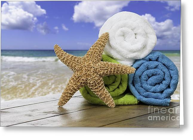 Wooden Fish Greeting Cards - Summer Beach Towels Greeting Card by Amanda And Christopher Elwell