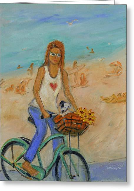 Summer Bicycling By A Nude Beach Greeting Card by Xueling Zou