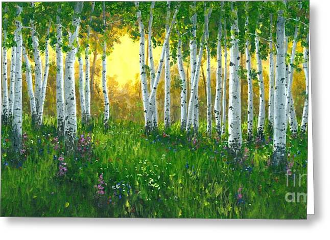 Summer Birch 24 X 48 Greeting Card by Michael Swanson