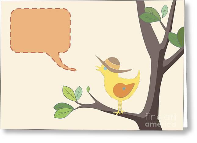 Speech Balloon Greeting Cards - Summer Bird Greeting Card by Tim Hester