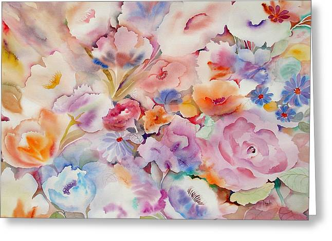 Posy Greeting Cards - Summer Blooms Greeting Card by Neela Pushparaj