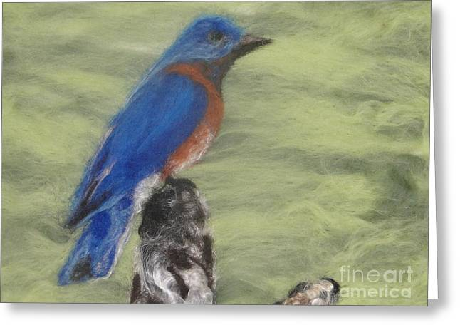 Baby Bird Tapestries - Textiles Greeting Cards - Summer Blue Bird Greeting Card by Shakti Chionis