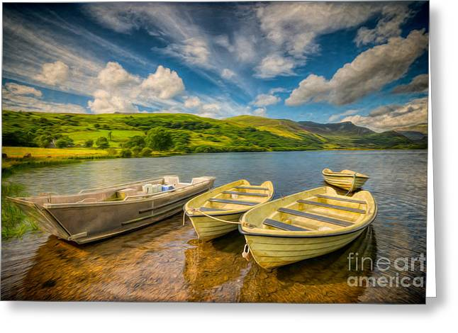 Green Boat Greeting Cards - Summer Boating Greeting Card by Adrian Evans