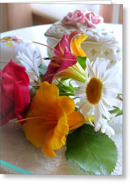 Nature Center Greeting Cards - Summer Bouquet Greeting Card by Kay Novy