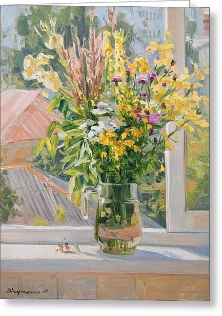 Flower Still Life Greeting Cards - Summer bouquet Greeting Card by Victoria Kharchenko