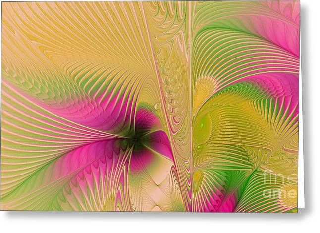 Algorithmic Greeting Cards - Summer Breeze Greeting Card by Deborah Benoit