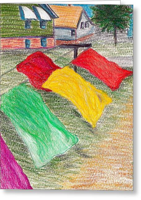 Beach Prints Drawings Greeting Cards - Summer Breeze Greeting Card by M West