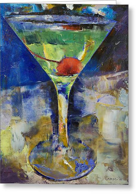 Cosmos Paintings Greeting Cards - Summer Breeze Martini Greeting Card by Michael Creese