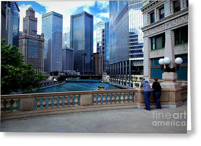 City Lights Greeting Cards - Summer Breeze on the Chicago River - Color Greeting Card by Frank J Casella