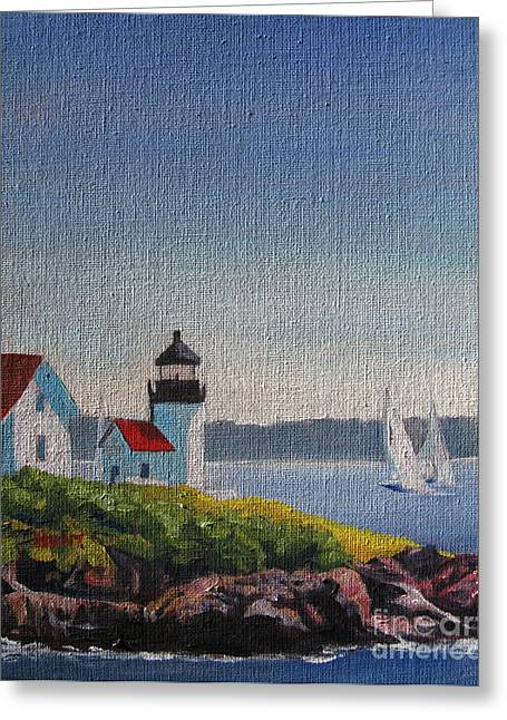 Maine Shore Paintings Greeting Cards - Summer Breeze Greeting Card by Shirley Braithwaite Hunt