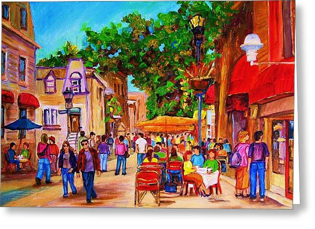 Montreal Bistros Greeting Cards - Summer Cafes Greeting Card by Carole Spandau
