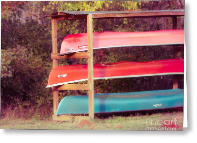 Summer Camps Greeting Cards - Summer Canoes Greeting Card by Sonja Quintero