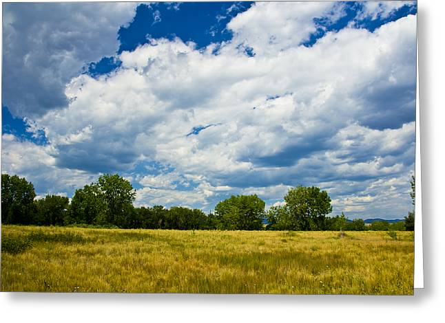 Field. Cloud Mixed Media Greeting Cards - Summer Clouds In Colorado Greeting Card by Angelina Vick