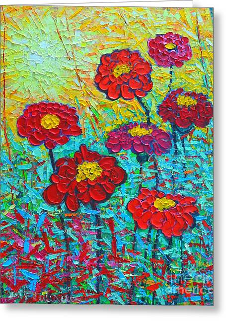 Abstract Expression Greeting Cards - Summer Colorful Flowers - Sunrise Garden  Greeting Card by Ana Maria Edulescu