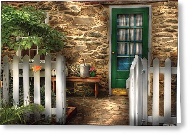 White Frame House Greeting Cards - Summer - Cottage - Cottage Side Door Greeting Card by Mike Savad