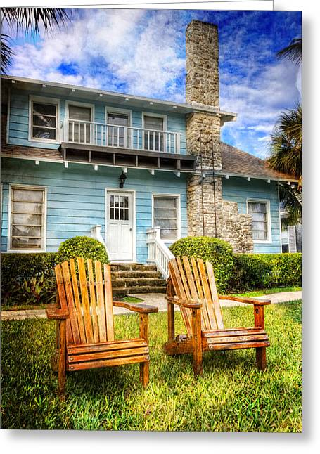 Florida House Greeting Cards - Summer Cottage Greeting Card by Debra and Dave Vanderlaan