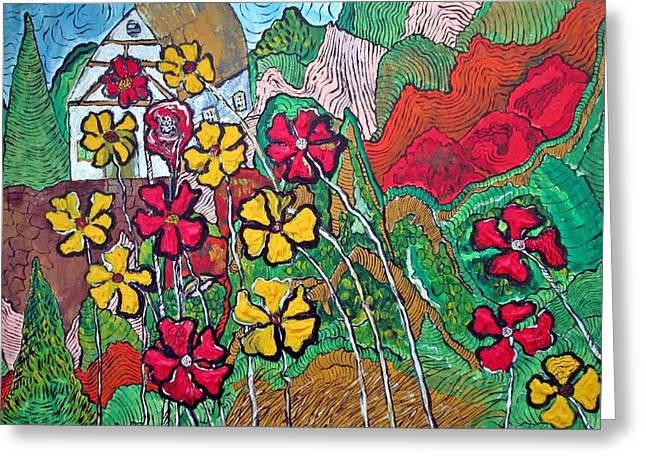 Acylic Painting Greeting Cards - Summer Cottage Greeting Card by Matthew  James
