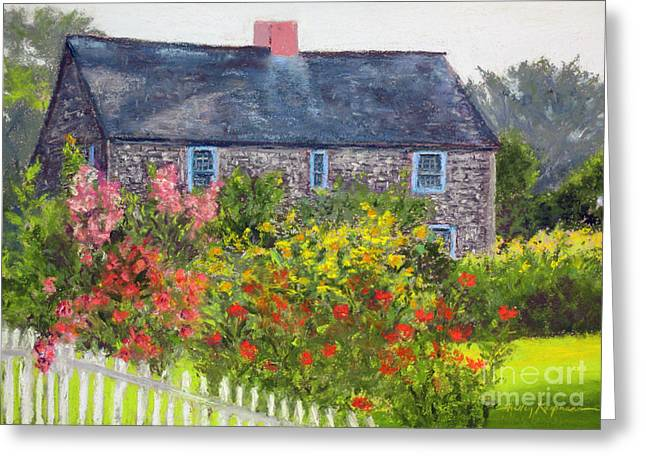 Country Cottage Pastels Greeting Cards - Summer Cottage Greeting Card by Shelley Koopmann