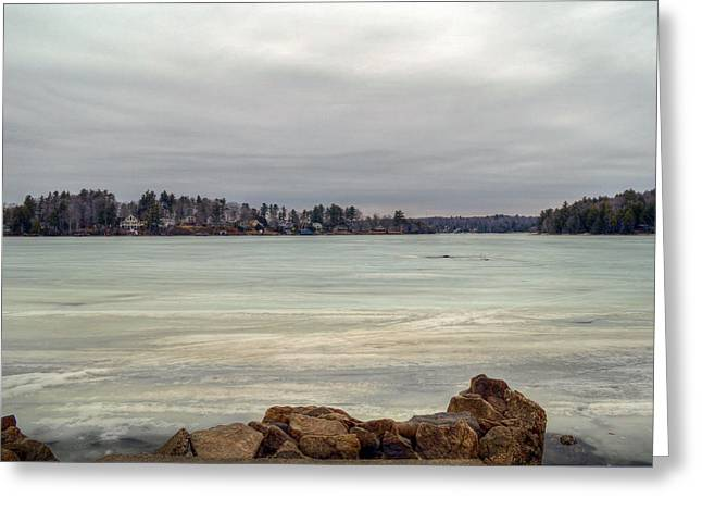 Alienate Greeting Cards - Summer Cottages - Winter at Otis Reservoir Greeting Card by Geoffrey Coelho