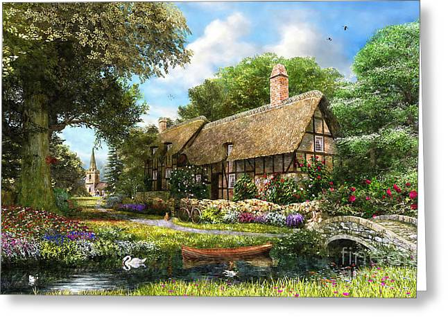 Half-timbered Greeting Cards - Summer Country Cottage Greeting Card by Dominic Davison