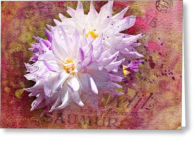 Graphics Framed Prints Greeting Cards - Summer Dahlias Greeting Card by Melinda Dreyer