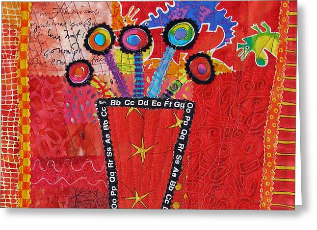 Bright Colors Tapestries - Textiles Greeting Cards - Summer Dance Greeting Card by Susan Rienzo