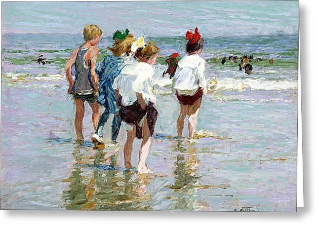 Summer Day At Brighton Beach Greeting Card by Edward Potthast