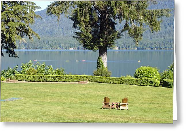 Lawn Chair Greeting Cards - Summer Day at Lake Quinault Greeting Card by Mountain Dreams