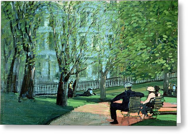 Park Benches Greeting Cards - Summer Day Boston Public Garden Greeting Card by George Luks