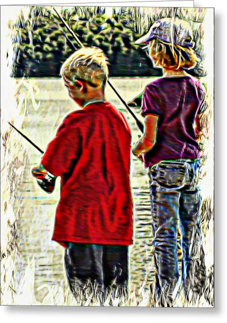 Fishing Rods Mixed Media Greeting Cards - Summer Day Greeting Card by Michael Dion Taylor