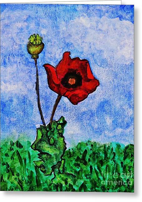 Sarah Loft Paintings Greeting Cards - Summer Day Poppy Greeting Card by Sarah Loft