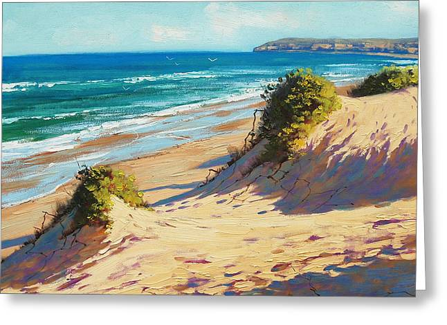 Sand Dunes Paintings Greeting Cards - Summer Day The Entrance Greeting Card by Graham Gercken