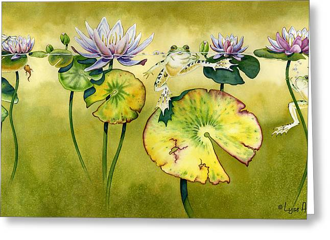 Frogs Greeting Cards - Summer Days Greeting Card by Lyse Anthony
