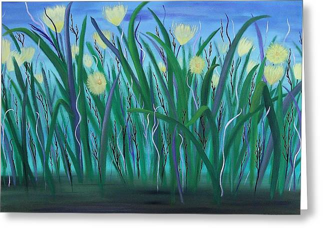 Day Lilly Paintings Greeting Cards - Summer Daze Greeting Card by Denise Peat