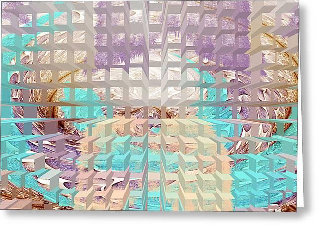 Geometrical Art Greeting Cards - Summer Dreaming geometrical digital painting Greeting Card by Georgeta  Blanaru