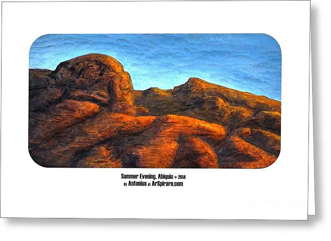 Photo Reliefs Greeting Cards - Summer Evening Abiquiu Greeting Card by ArSpirare by Antonius