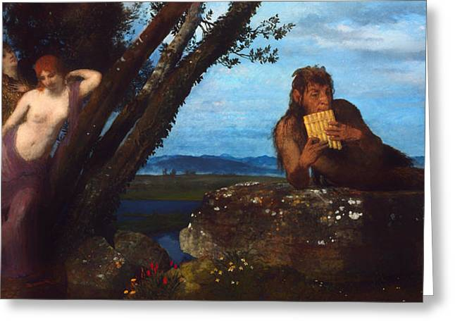 Ledge Greeting Cards - Summer Evening Greeting Card by Arnold Bocklin