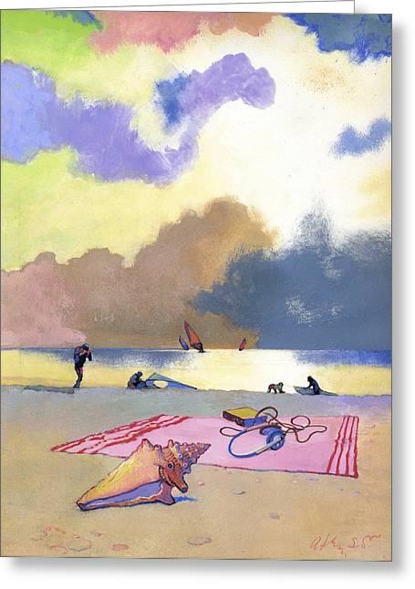 Beach Towel Paintings Greeting Cards - Summer Evening Greeting Card by George Adamson