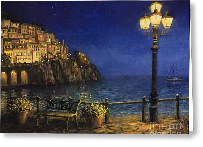 Night Lamp Greeting Cards - Summer Evening in Amalfi Greeting Card by Kiril Stanchev