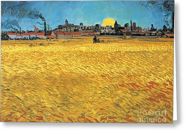 Smoke Art Greeting Cards - Summer evening wheat field at sunset Greeting Card by Vincent van Gogh