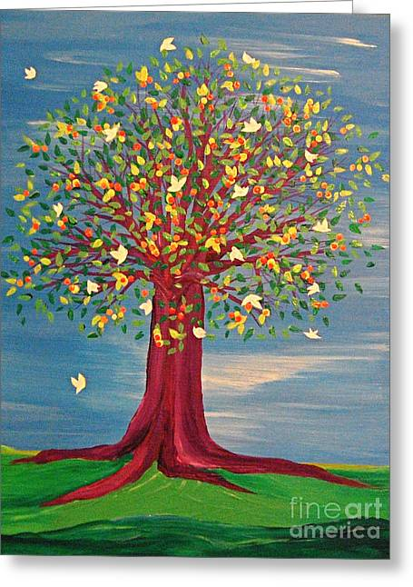 Fruit Tree Art Greeting Cards - Summer Fantasy Tree Greeting Card by First Star Art