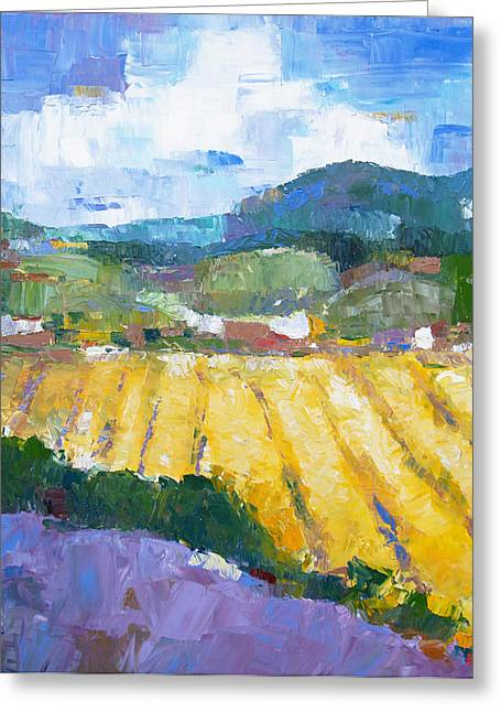 Pallet Knife Photographs Greeting Cards - Summer Field 2 Greeting Card by Becky Kim
