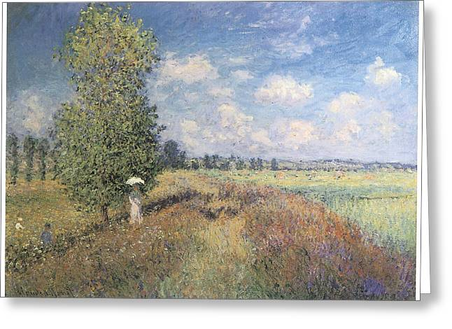 Summer Field Of Poppies Greeting Card by Claude Monet